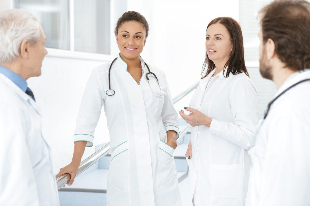 doctors talking hallway