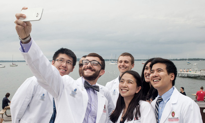 millenial doctors taking selfie